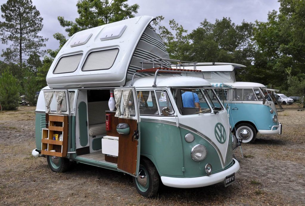 Van camping in a campground
