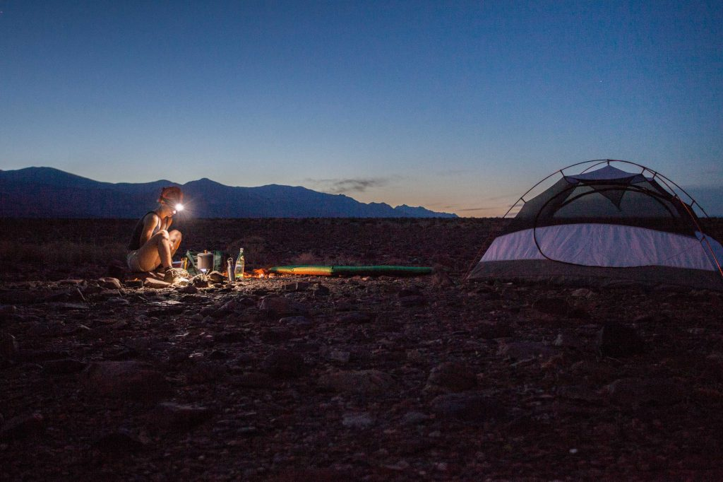 Primitive camping at night