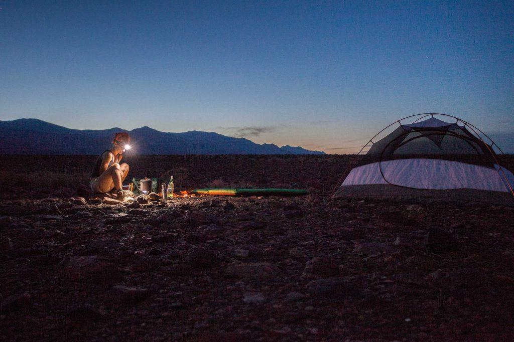 Primitive camping at night