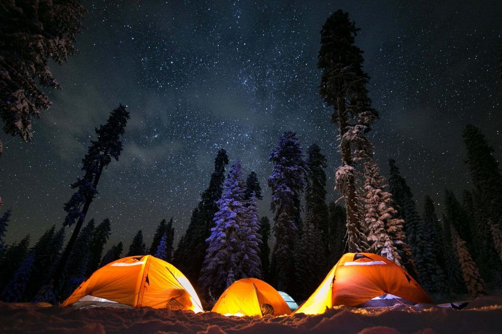 Winter camping and stargazing