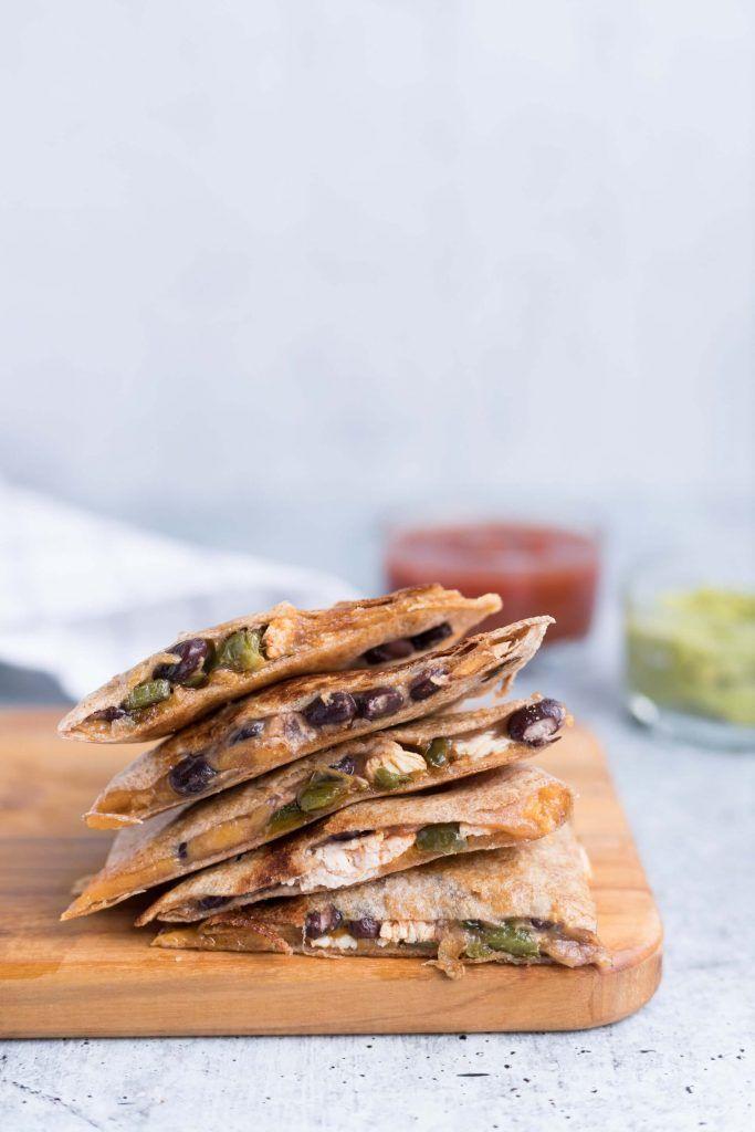 Vegetarian camping food for breakfast :Black bean egg and cheese quesadilla