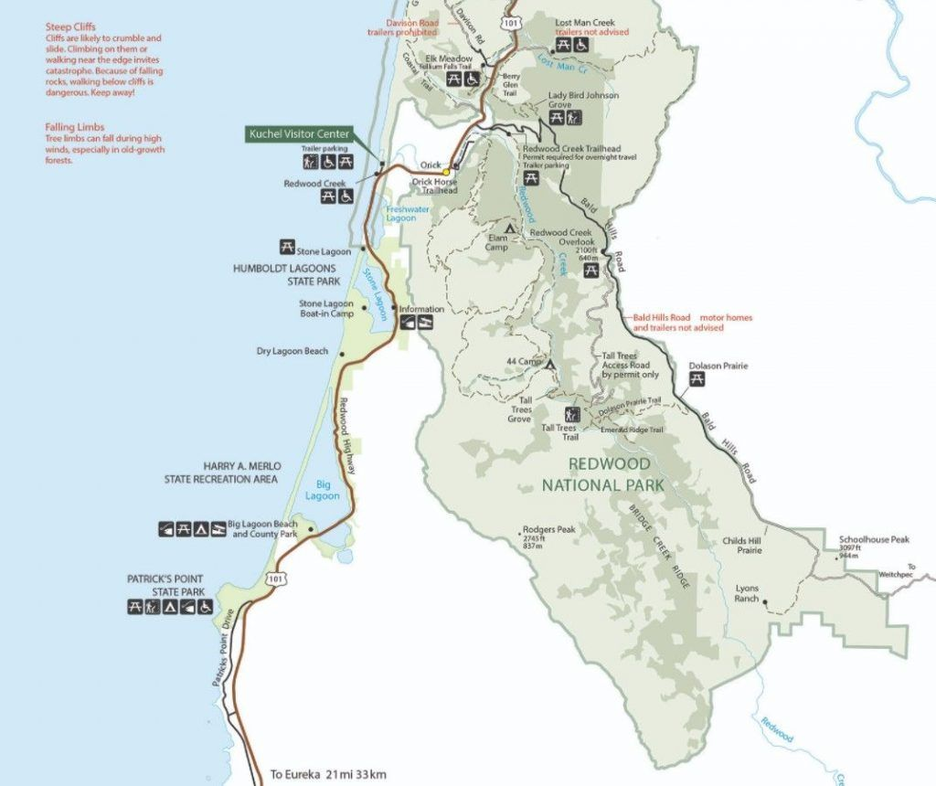 redwood state parks map
